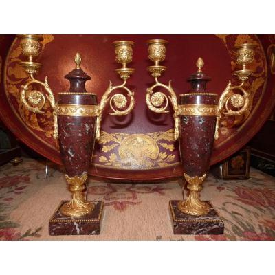 Pair Of Candelabra, Bronze Dore And Marble Cherry, Louis XVI, Napoleon III