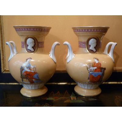 Vases Pair Of Neo-greek Decor, Porcelain Paris, Napoleon III
