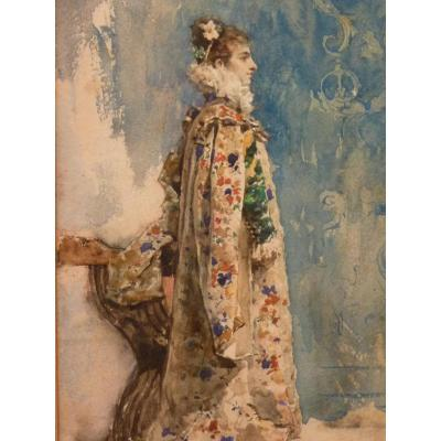 Attilio Simonetti (1843-1925), Portrait Of Sarah Bernhardt, Watercolor