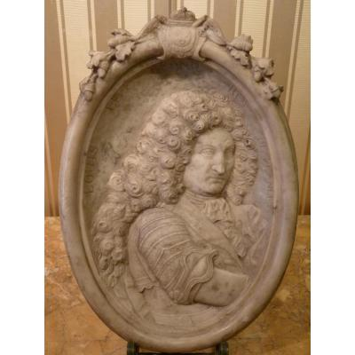 Portrait Of King Louis XIV, Bas-relief Marble, Louis XIV