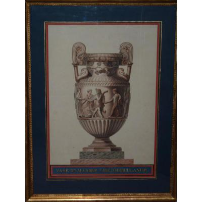 Neo-classical Watercolor, Marble Vase From Herculaneum, Early 19th Century