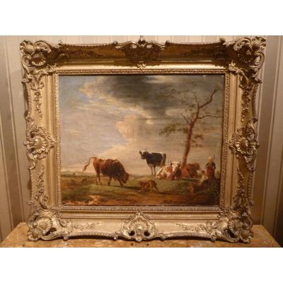 Berré Jean Baptiste (1777-1838), Cows In Pasture, Oil On Canvas, 1835