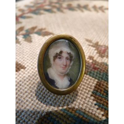 Miniature, Lady In White Bonnet, Early 19th Century