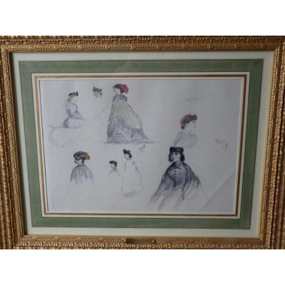 Princess Marie Of Orleans, Watercolor, Ladies Studies Collection Comte De Paris