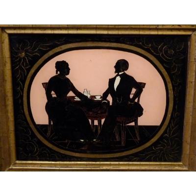 Cut Profiles Said Silhouettes, Couple Taking Tea, 1853