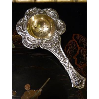 Tea Strainer, Silver, Louis XVI Style, Hallmark Minerva, 19th Century