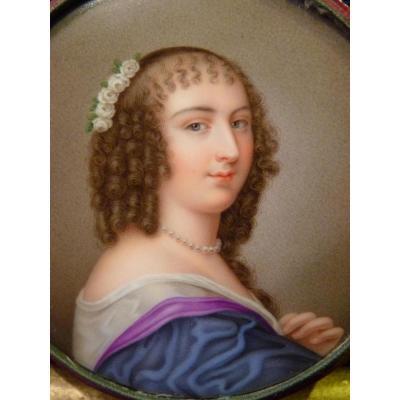 Sophie Girard, Miniature Porcelain On Ninon De Lenclos, Restoration Period