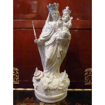 Joseph Henri Dewez, Vierge à l'Enfant, Terre Cuite Et Argent, 1836