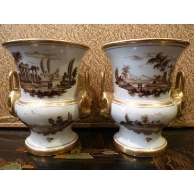 Manufacture Nast In Paris Pair Of Vases Porcelain, Empire Period - Restoration