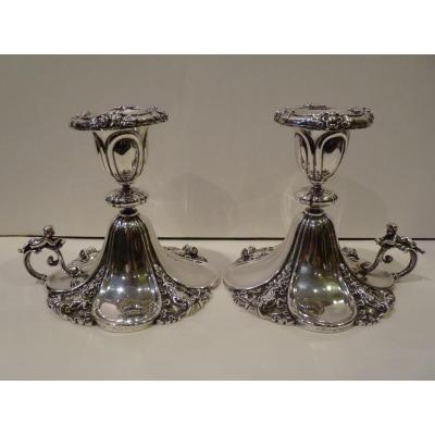 Pair Of Candlesticks, Sterling Silver, Goldsmith Sazikov, St-petersburg 1859