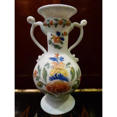 Vase With Handles, Flower Decor, Opaline, 18th Century