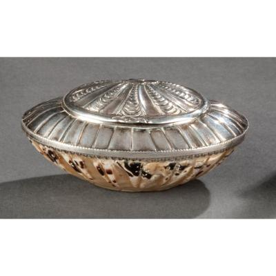 Snuffbox In Sterling Silver And Shell, Louis XV