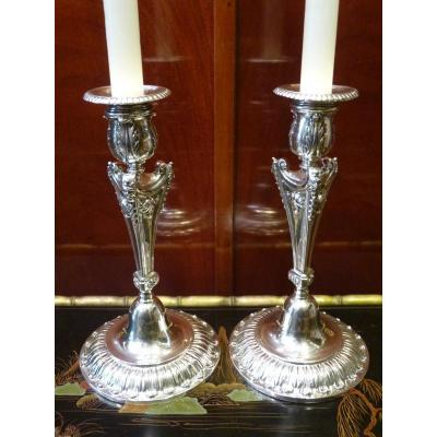 Pair Of Candlesticks, Sterling Silver, Napoleon III