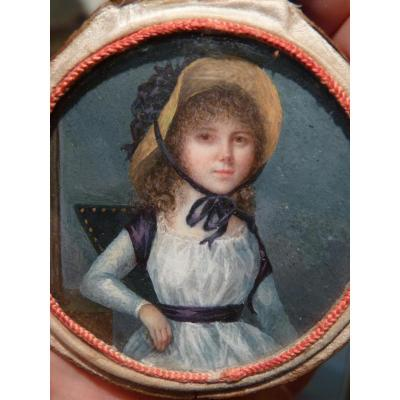 Jean Alexandre Boquet (1752-1828) Miniature Young Lady In Straw Hat, End 18th Century