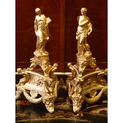 Pair Of Women Draped Statues In Ancient Gilt Bronze, Napoleon III
