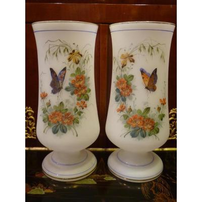 Pair Of Vases Opaline, Decor Flowers And Butterflies, Napoleon III