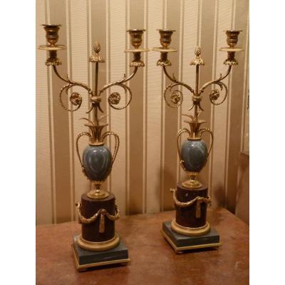 Paire De Candelabres, Bronze Doré, Marbres Turquin Et Griotte, époque Napoléon III