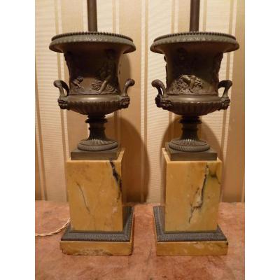 Paire De Vases Médicis, époque Restauration, Montés En Lampe