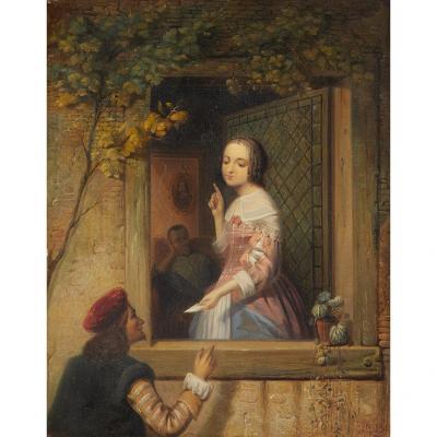 Arnoldus Gijsbertus Gretser (1815-1864), Le Billet Doux, Scène De Genre, Ecole Hollandaise