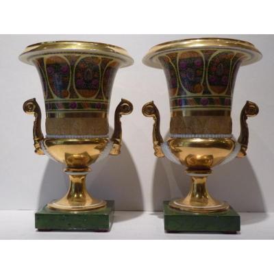 Paire de Vases Médicis, Porcelaine de Paris, époque Restauration