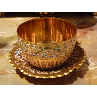 And Display Bowl, Enamel And Gold Painted Crystal, Fine 19th Century