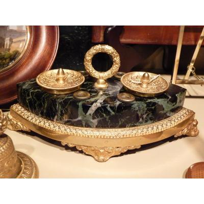 Inkwell Gilt Bronze And Marble, Neo-gothic Style, Restoration Period