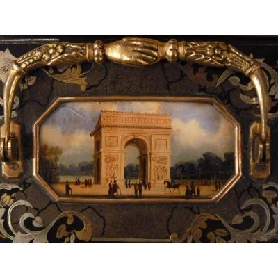 Clipboard, Miniature Attributed To Lebelle, Arc De Triomphe, 1830