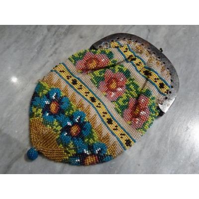 Porte-monnaie, Sablé de Perles, époque Restauration, Frises de Fleurs