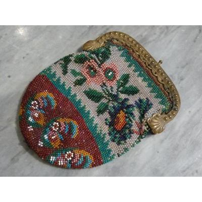 Porte-monnaie, Sablé de Perles, époque Restauration, Motifs Cashmere