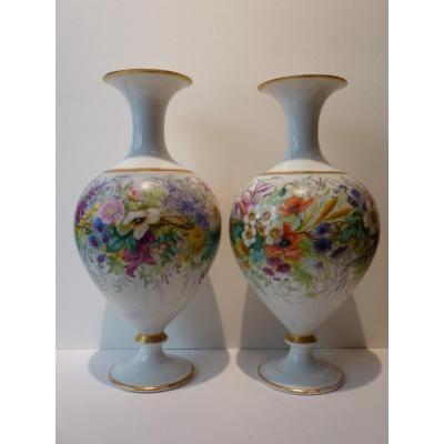 Pair Vases Decor Of Flowers, Porcelain Of Paris, 19th Century