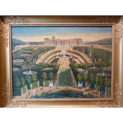 Castle Of Versailles, Gouache, Epoque Restoration