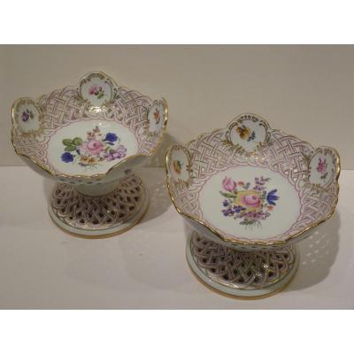 Herend, Pair Porcelain Fruit Cups, Flower Decor
