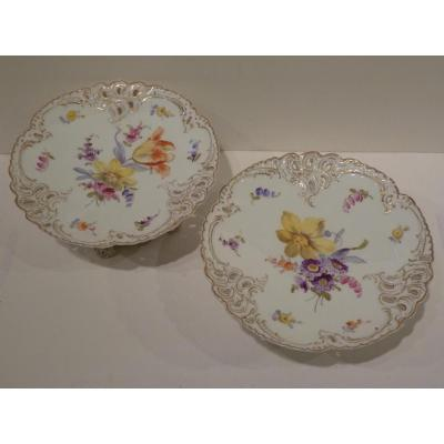 Pair Of Cake Cups, Porcelain 19th Century