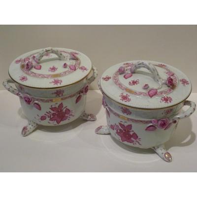 HEREND Paire Pots Couverts Porcelaine, Service Comte Apponyi