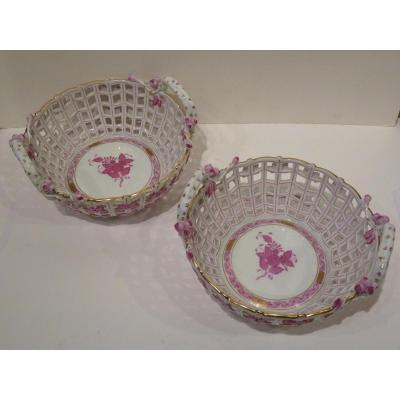Herend, Pair Porcelain Baskets, Service Count Apponyi