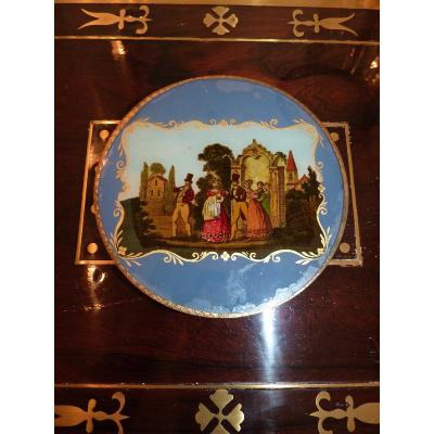 Candy Box, Painting Under Glass, Charles X Era Romantic
