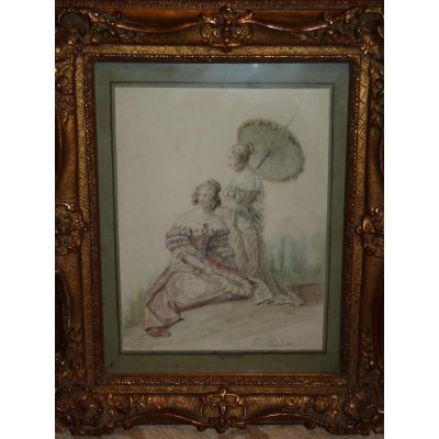 Edouard Pingret, Two Ladies , Watercolor, Restoration Period