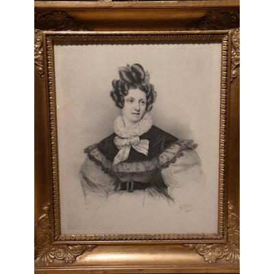 Henri Grevedon (1776-1860) Portrait de Jeune Femme, Gravure, Epoque Restauration