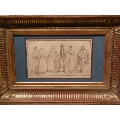 Jean Auguste Dubouloz (1800-1870) Study Of Characters The Italians, Drawing 1834