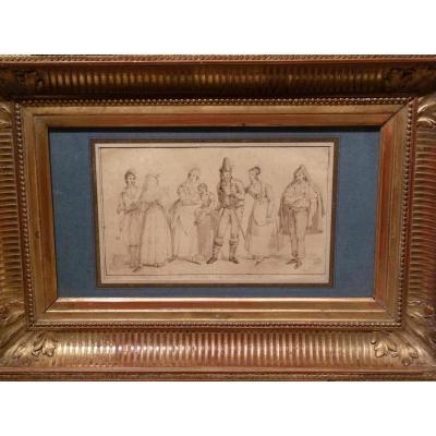 Jean Auguste Dubouloz (1800-1870) Etude de Personnages Les Italiens, Dessin 1834