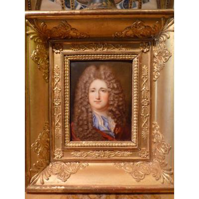 Miniature Gentleman Style Louis XIV, Restoration Period, Enamel