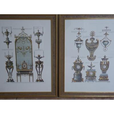 Pair Of Neoclassical Furniture Engravings After Robert Adam