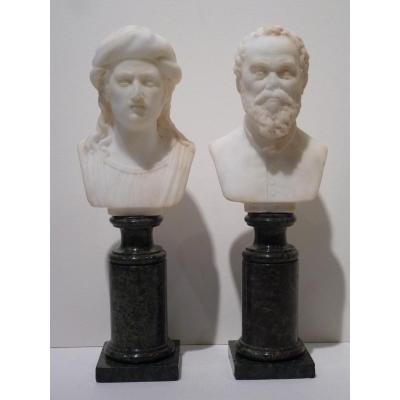 Raphael & Michel Ange, Paire de Bustes en Marbre, Italie 19e Siècle