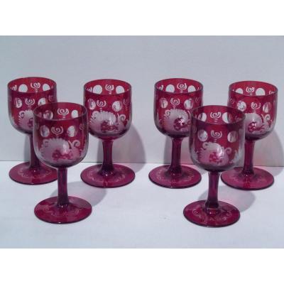 Service 6 Verres à Liqueur, Cristal de Bohème, 19e Siècle