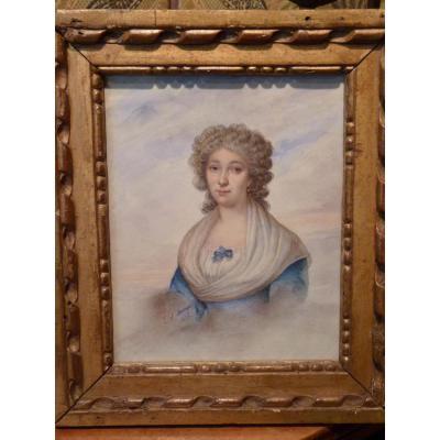 Louis Saint-Ange Desmaisons, Portrait De Dame, Aquarelle, époque Restauration
