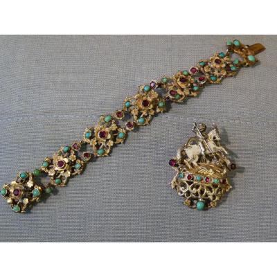 Bracelet Et Broche, Vermeil, Turquoises Et Grenats, Style Renaissance, époque Louis-Philippe