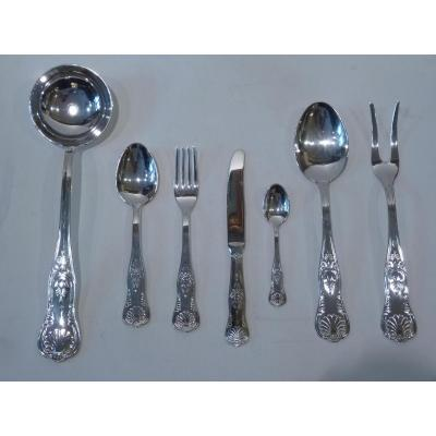 Housewife 51 Pieces, Silver Metal, Rocaille Style