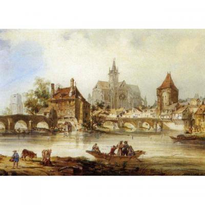 Theodore Henri Mansson (1811-1850), Moret Sur Loing, Aquarelle, 1846
