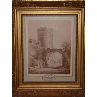 Jean Victor Nicolle (1754-1826), Paysage A La Tour, 18ème Siècle, Lavis