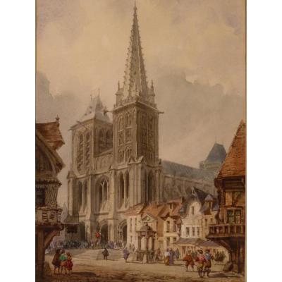 Théodore Henri Mansson (1811-1850), Saint-Pierre De Lisieux, Aquarelle, époque Romantique